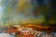 tableau paysages paysage impressionnisme peintre canadien huile : Eaux soleil couchant