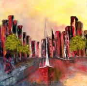 """tableau villes peinture huile spatule peintre quebecquoise : Città portugal Fantaisia """"2019"""""""