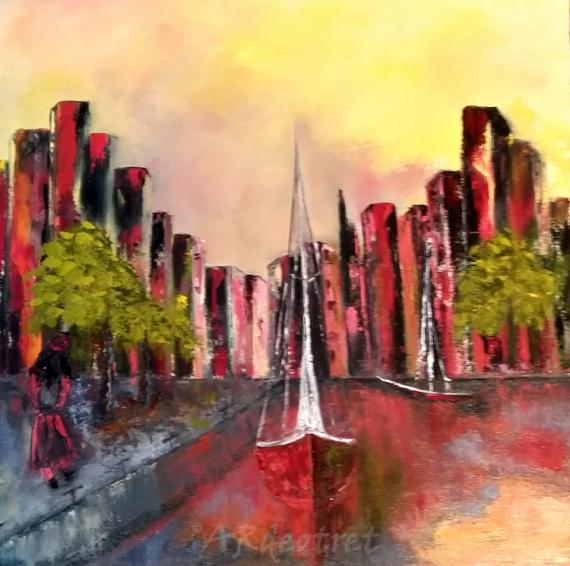 """TABLEAU PEINTURE peinture huile spatule peintre québecquoise Villes Peinture a l'huile  - Città portugal Fantaisia """"2019"""""""