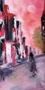 tableau scene de genre jeune femme ville huile spatule : Rose Citada