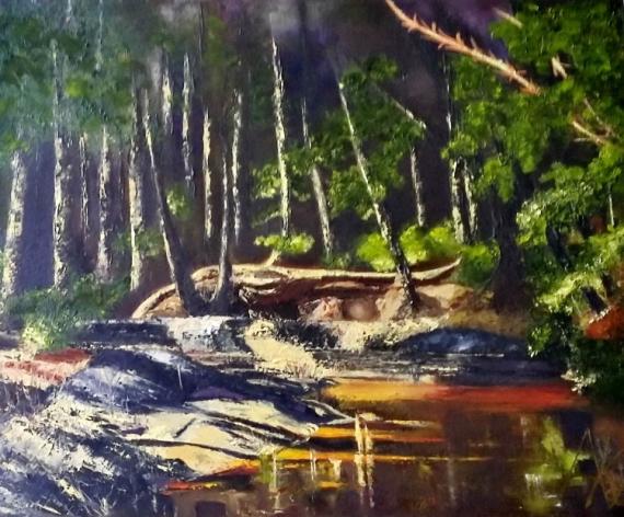 """TABLEAU PEINTURE clair-obscur huile spatule peintre québecquoise Paysages Peinture a l'huile  - Dans le sous-bois """"2021"""""""