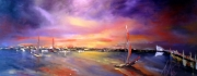 tableau marine toile galerie marine spatule huile : Voiles au crépuscule