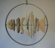 bois marqueterie poisson bois flotte : Poisson dans son cercle