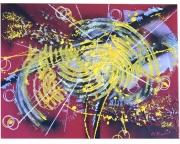 tableau abstrait matiere explosion contemporain courbes : Neutronisation