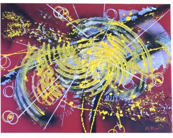 TABLEAU PEINTURE matière explosion contemporain courbes Abstrait Acrylique  - Neutronisation