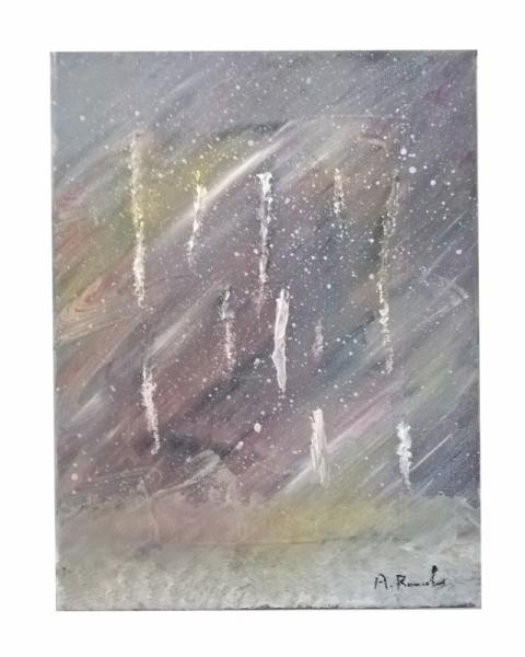 TABLEAU PEINTURE contemporain multicolor pastel froid Abstrait Peinture a l'huile  - Tempête d'hiver