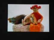 sculpture personnages femme dormir enfant rouge : La Sieste