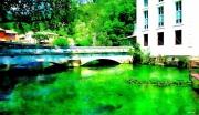 photo paysages provence fontaine de vaucluse riviere couleur emeraude : Fontaine de Vaucluse