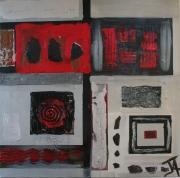 tableau abstrait ardoise rouge noir : Le Rouge et le Noir
