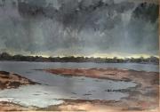 tableau marine mer maree basse vase : Soirée à marée basse au Paludo