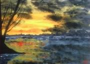 tableau paysages ciel couchant mer crepuscule : La mer au couchant