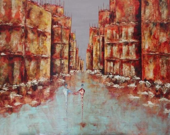 TABLEAU PEINTURE couleurs ville nantes tableaux Architecture  - Traversée ...