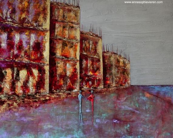 TABLEAU PEINTURE couleurs architecture tableaux nantes Villes Peinture a l'huile  - Complicité ...