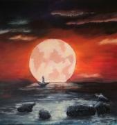 tableau paysages lune soleil bateau : le calme après la tempête