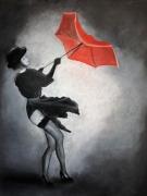 dessin personnages parapluie noir rouge : Dame au parapluie