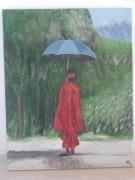 tableau personnages moine parapluie nature : Moine