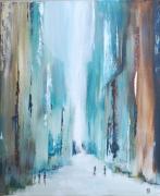 painting paysages ville sans voiture covid bleu : Un nouveau dimanche sans voiture
