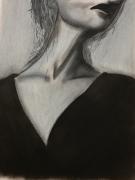 tableau personnages dame noir blanc pastel : Chic