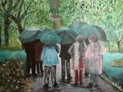 tableau personnages pluie parc vert : Chantons sous la pluie