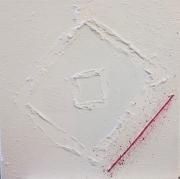 tableau abstrait fil rouge matiere blanc : Fil rouge 1