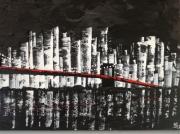 tableau paysages new york pont noir et blanc peinture : New York