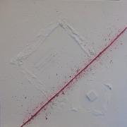 tableau abstrait fil rouge blanc abstrait matiere : Fil rouge 3