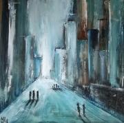 tableau paysages ville errance bleu abstrait : Ville 1