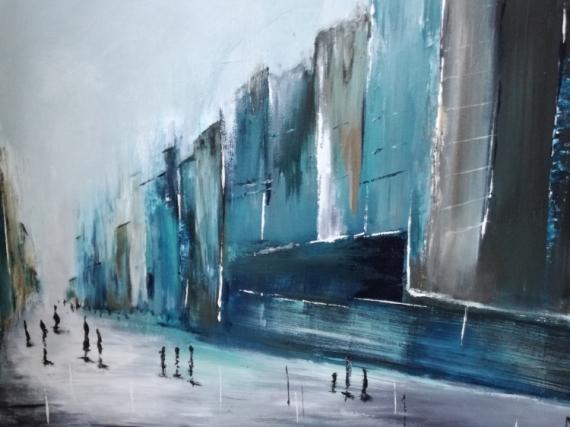 TABLEAU PEINTURE Ville bleu vert abstrai Paysages Acrylique  - Un dimanche sans voiture