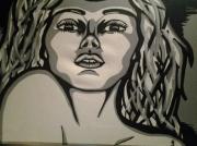 tableau personnages posca pop art femme ombres : Oh!