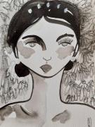 dessin personnages femme portrait encre celine marcoz : Portrait encre