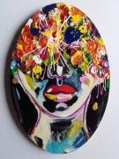 tableau personnages visage fleurs portrait celine marcoz : Visage Fleurs