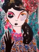 dessin personnages femme portrait visage celine marcoz : Portrait Femme Fleurs