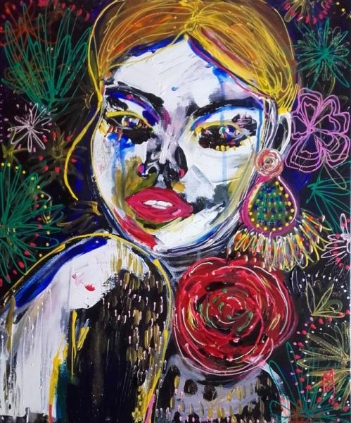 TABLEAU PEINTURE femme portrait visage céline marcoz Personnages Acrylique  - Femme Portrait