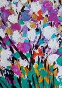 tableau fleurs abstrait toile fleurs celine marcoz : Fleurs