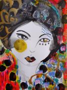 dessin personnages femme art visage portrait celine marcoz : Femme Portrait Fleurs