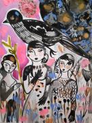 dessin personnages oiseau nature femmes celine marcoz : Oiseau et femmes