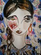 dessin personnages visage femme portrait celine marcoz : Femme Fleurs