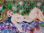 dessin nus : Femme dans le jardin