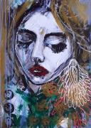 tableau personnages portrait femme visage celine marcoz : Femme
