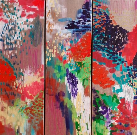 TABLEAU PEINTURE abstrait céline marcoz paysage peinture abstraite Abstrait Acrylique  - Poésie des fleurs