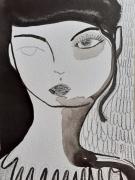 dessin personnages femme encre portrait celine marcoz : Visage Encre