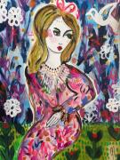 dessin personnages femme rose portrait celine marcoz : Femme Portrait Rose Romantique