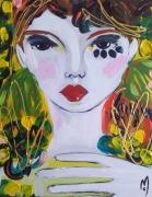tableau personnages visage portrait femme celine marcoz : Fille