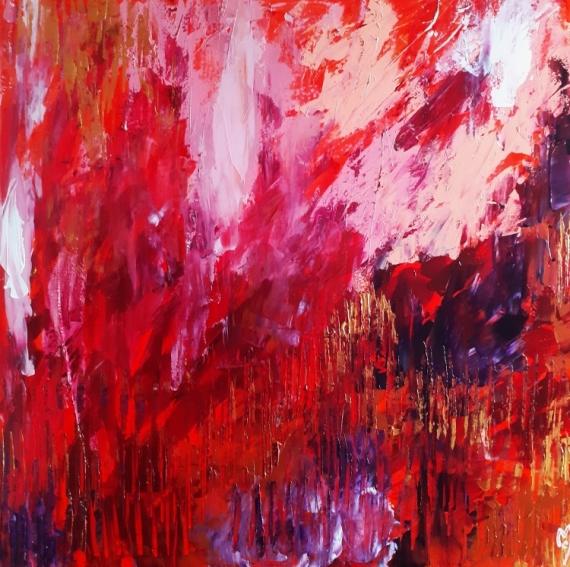 TABLEAU PEINTURE abstrait céline marcoz rouge paysage Abstrait Acrylique  - Emotions