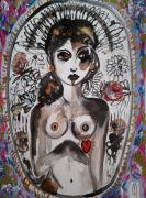 dessin nus nu portrait femme celine marcoz : Femme Nu
