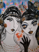 dessin personnages portraits femmes visages celine marcoz : Femmes