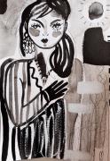 dessin personnages femme portrait encre celine marcoz : Femme Encre