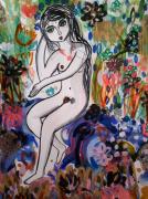 dessin nus nu femme jardin nature : Nu Féminin