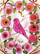 dessin animaux oiseau peinture celine marcoz oiseau rose oiseau fleurs : Oiseau rose