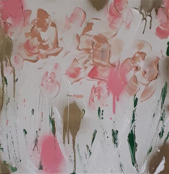 TABLEAU PEINTURE abstrait fleurs céline marcoz rose Fleurs Acrylique  - Fleurs